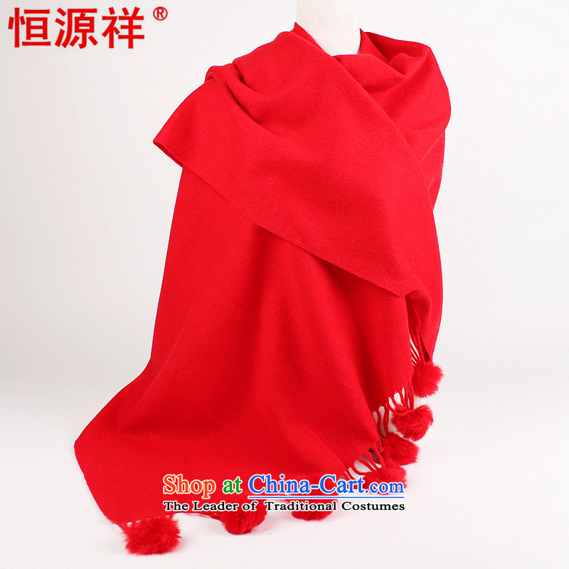 Hengyuan Cheung woolen shawl scarves with two extra long rabbit hair ball wool large shawl scarf 2014 new extralong shawl668-1 Red