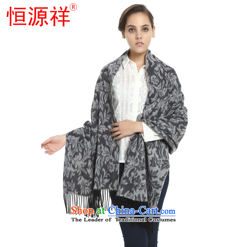 Hengyuan Cheung Tai shawl scarves wool two pure woolen shawl Hengyuan Cheung Pure Wool thick increase long shawl Tang Zhuo flower gift boxed 2015-5 Gray