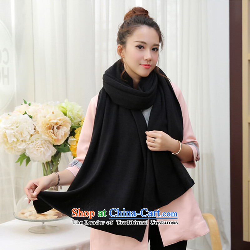 Knitting scarves knitted scarf unisex couples Thick Long pure color a shawl black
