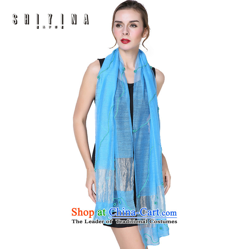 Ms. Ina _shiyina_ poem Fancy Scarf autumn and winter long retro silk scarf sexy curve little flowers blue