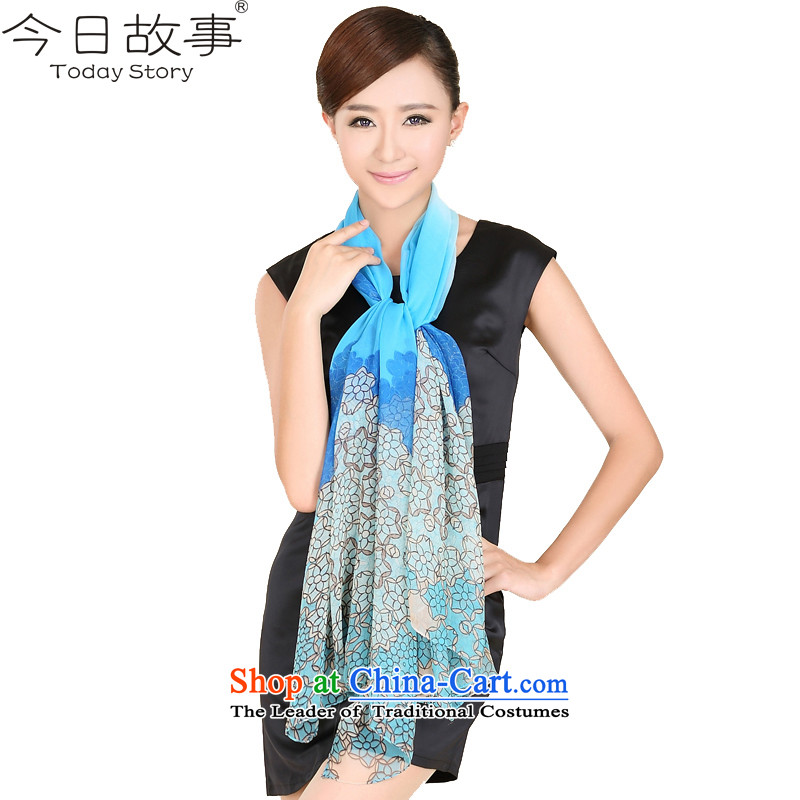 Today the story of the scarf chiffon long female silk scarf spring and autumn shawl scarf dual-useJ3127flower dance - Blue