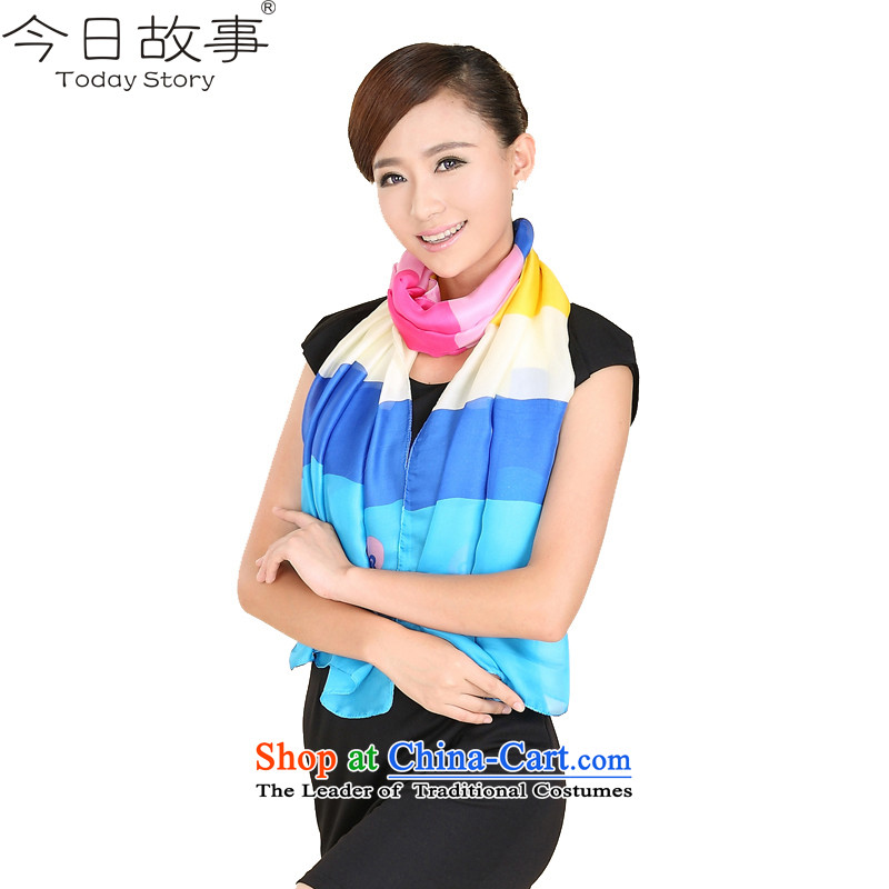 Today story streaks Sleek and versatile scarf female sweet silk shawls聽J3142聽colorful streaks - Blue