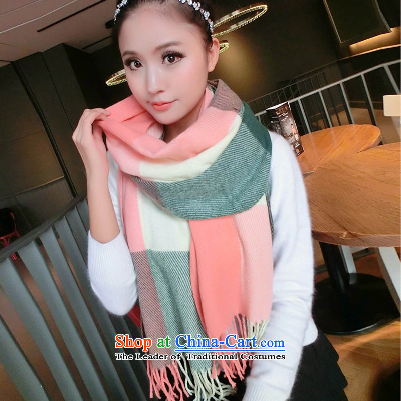 8 jaw spider 2015 autumn and winter new Korean long shawl scarves, Sleek and versatile Wai Shing knitting knitting latticed warm Light Green Tartan