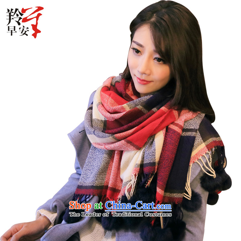 The Gazelle Good Morning autumn and winter warm-ups stamp warm women Fancy Scarf dual-use of sweet min - Red, Blue