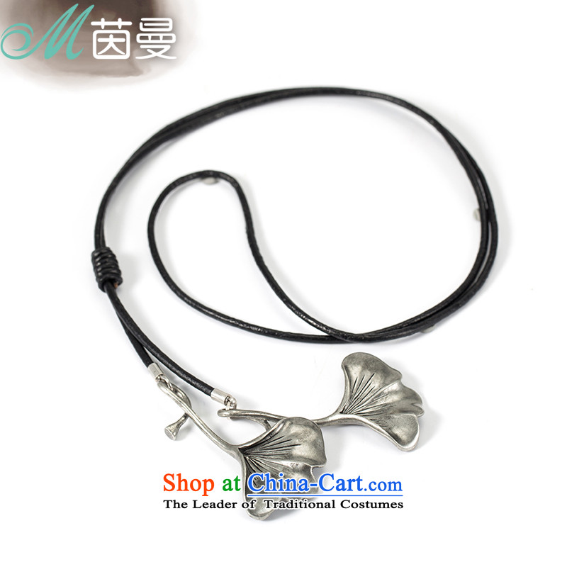 Athena Chu Cayman 2014 new sweater necklace leather twine necklace retro black Ginkgo leaf pendants 844151056 Silver Gray