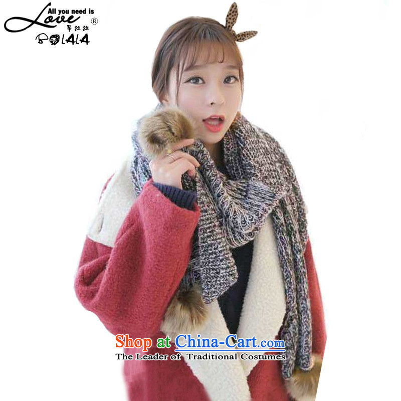8LA won her Knitting scarves version long thick spelling of female color shawl winter a rabbit woolen scarves knitted ball angled brown hair ball angled聽45_205cm scarf