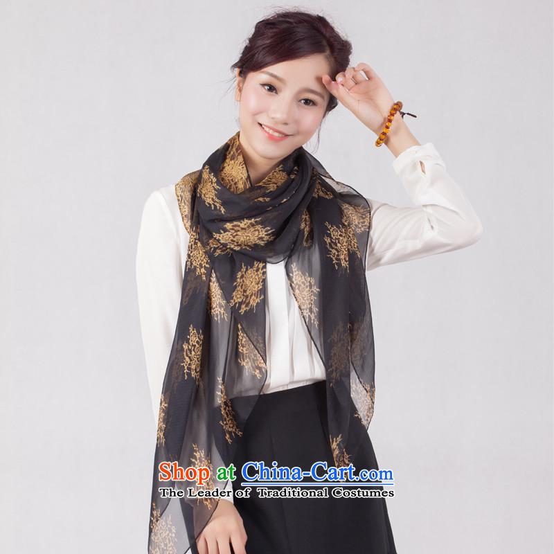 Le Grand autumn and winter 2014 new products 100% herbs extract shawl scarf stamp long towel silk scarf LBW-028 black