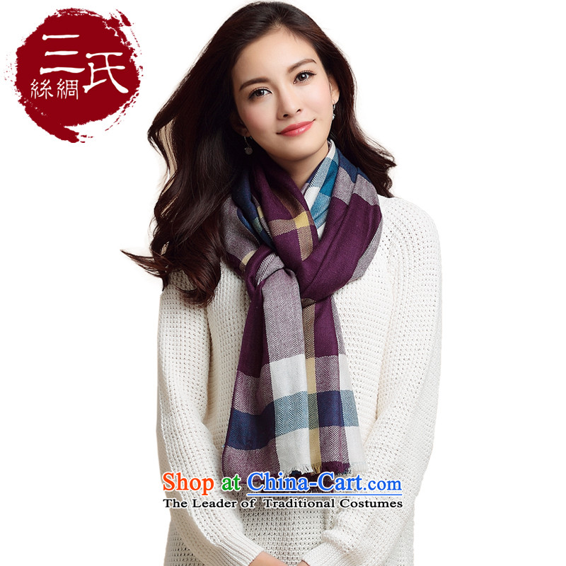 Three beautiful classic scarves (New Trend Plaid wooler scarf latticed Fancy Scarf female Blue purple.