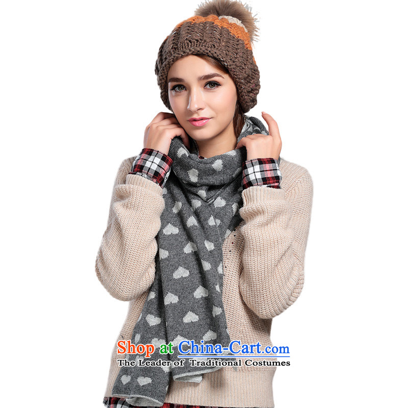 Ho Shih-woo of the scarf Korean female rabbit hair fall and winter warm a double-sided BC520104A a gray