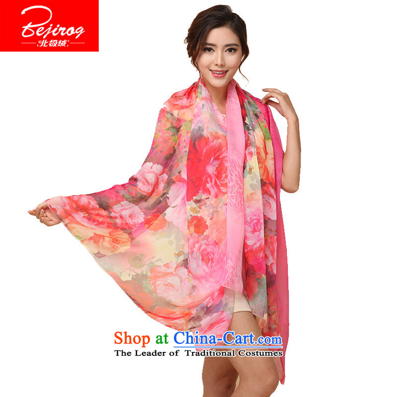 Arctic lint-free emulation silk scarves female scarf chiffon shawl Ms. 120*180 silk scarf  AEROS Chinese painting by light red