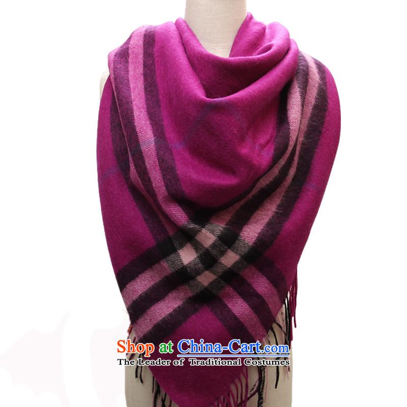 Shanghai Story wool and classy towel Thick Long Korean latticed autumn warm winter Fancy Scarf mauve.