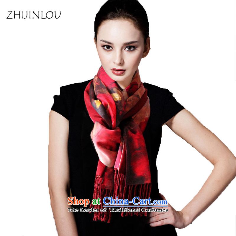 Tapestries floor silk scarf seyama silk scarves autumn and winter thick layer of silk brushed herbs extract shawl long towel silk scarfs redder rose
