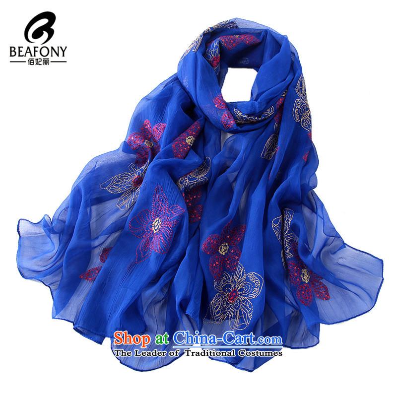 Bai Fei Li dongqiu new embroidery scarf flowers Ynn-w4136 Blue聽190