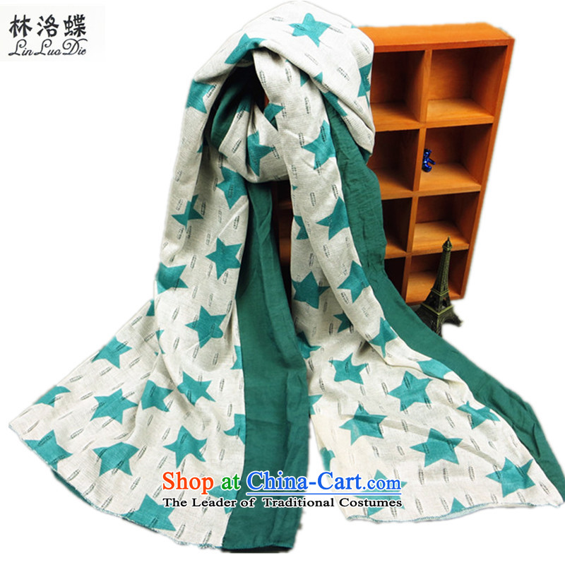 Lin, butterfly emulation silk scarves engraving stars female double thick autumn and winter warm charisma silk scarf shawl stars double green