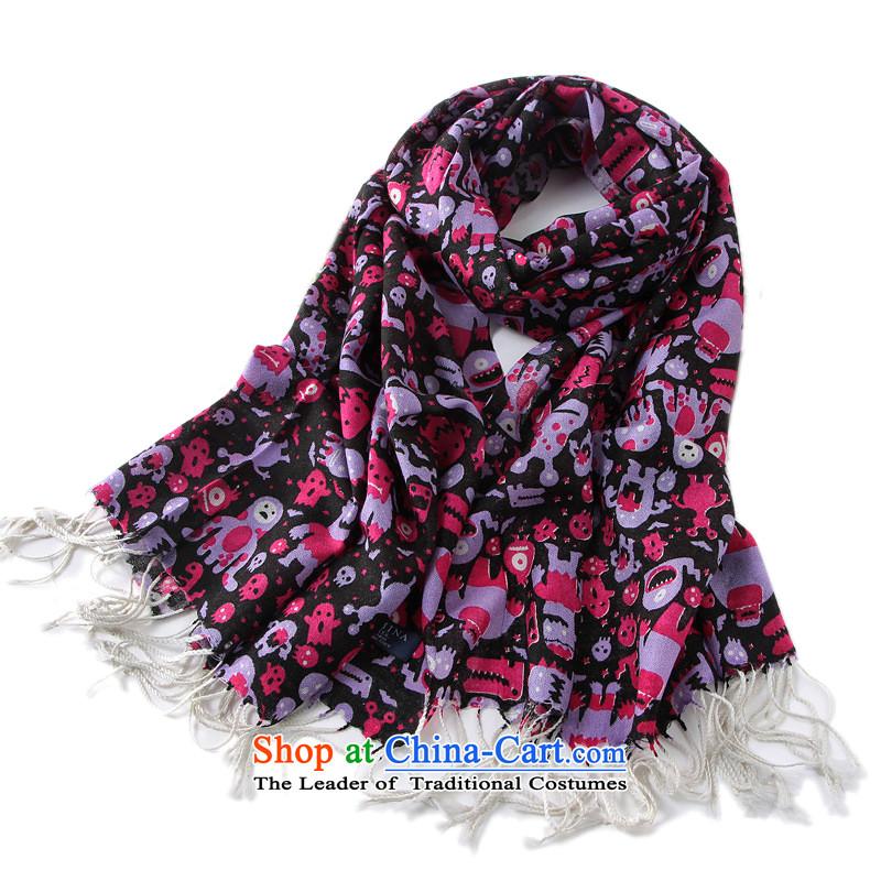Bai Fei Li dongqiu new woolen scarves Alcatraz Island Ynn-w4131聽135-175cm black