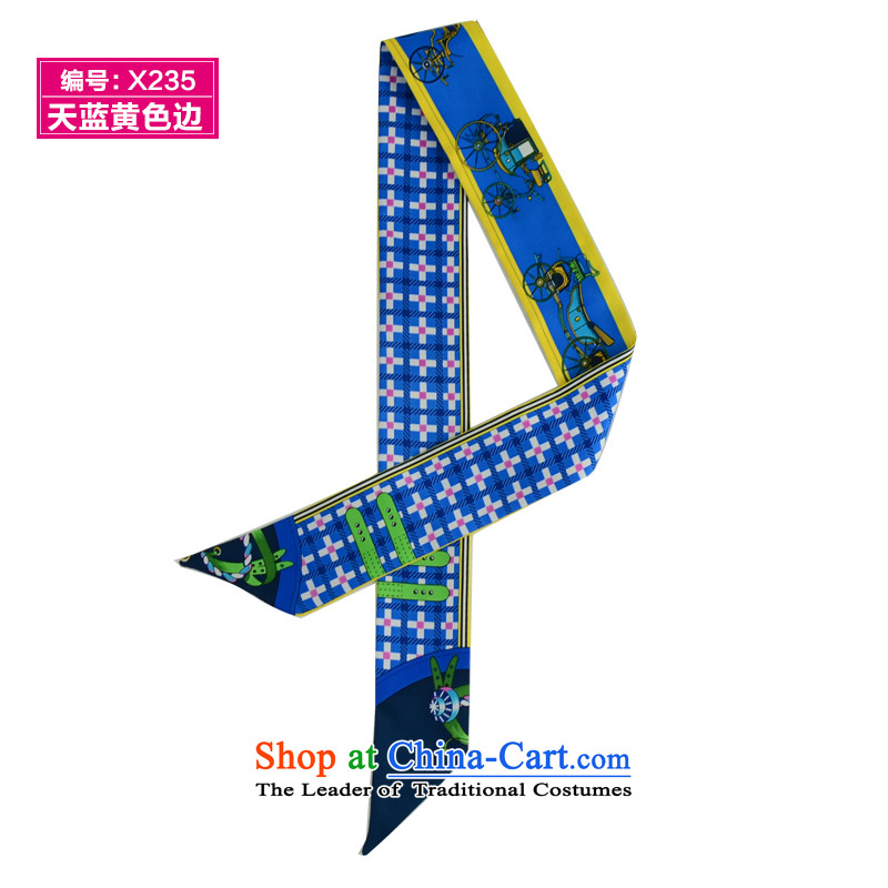 Heart Hailanghua-long聽a pattern to bind packages handle silk scarf small ribbon with scarves聽X235 Ms. Po blue and yellow side