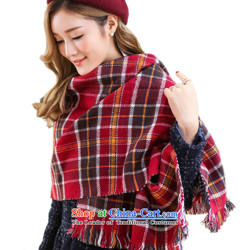 Long Fei Li Bai grid color two-sided chidori spell the end of the scarf of warm air-conditioned room shawl England PREPPY HM-002190_100 Red