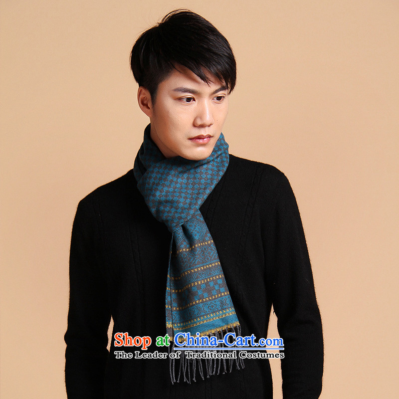 The Korean version of the arctic lint-free thick wool large scarf of autumn and winter Knitting scarves long men warm duplex couples Bohemia scarf men blue