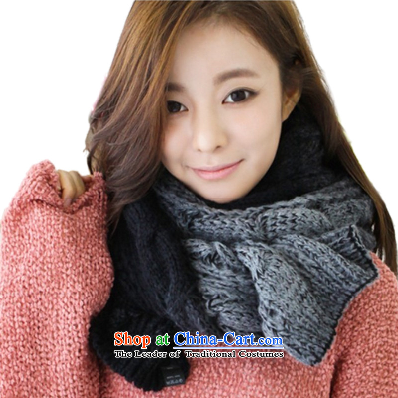 The Korean version of the autumn and winter men twist scarf thick line gradient Knitting scarves twist couples FL-001215*35 black and gray