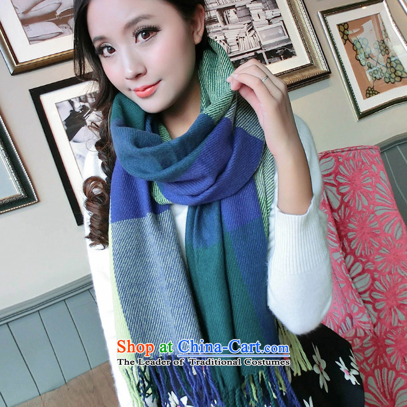 8 Jaw Spider Ms. scarves autumn and winter new grid warm thick shawl Korean long) Knitting emulation cashmere wild a blue-green tartan