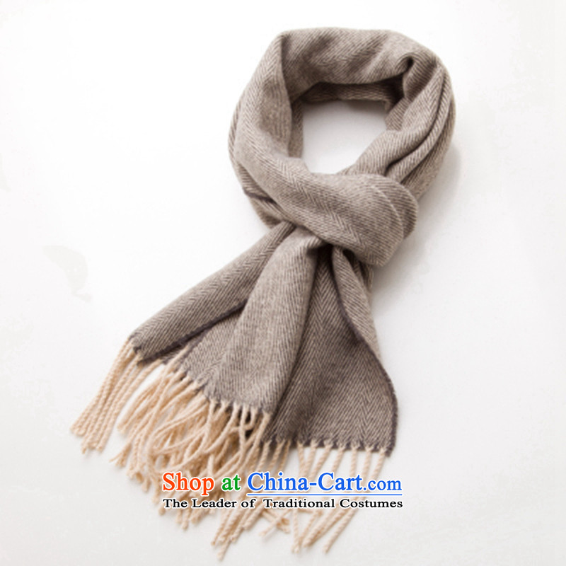 The autumn and winter new product version stylish men double korea knit classic color grid spell wool warm scarves at long distances wh407 Rome secret - Light Coffee