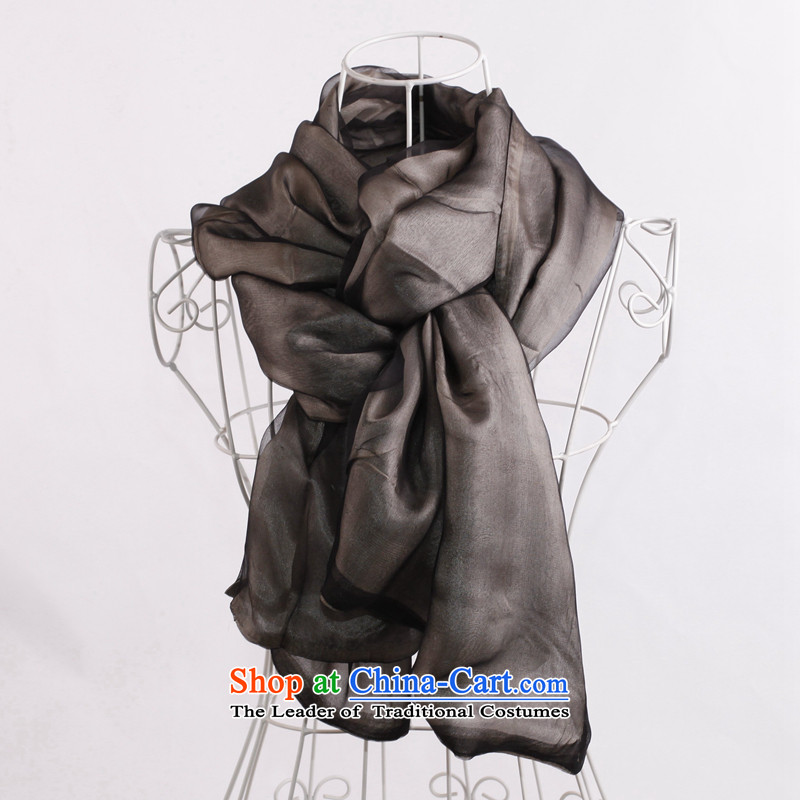 The 2014 autumn and winter new genuine good three layers of silk scarf silk scarf silk shawls pure color masks in the long vacation scarf black 55cm*178cm scarf