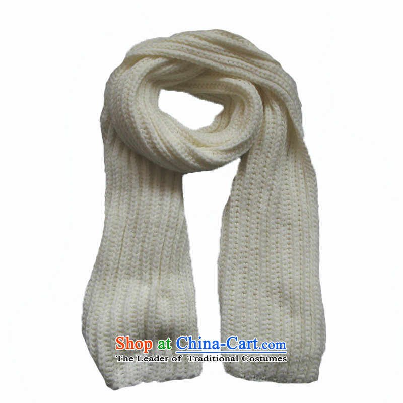 The Korean version of Knitting scarves female Korean autumn and winter long thick solid color a warm Knitting scarves milky white are code