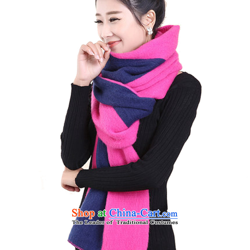The Korean version of the scarf Ms. maplestory scarf pure cotton Knitting scarves scarf female winter autumn and winter Thick Long Knitting scarves color in the Spell Checker Red + navy blue