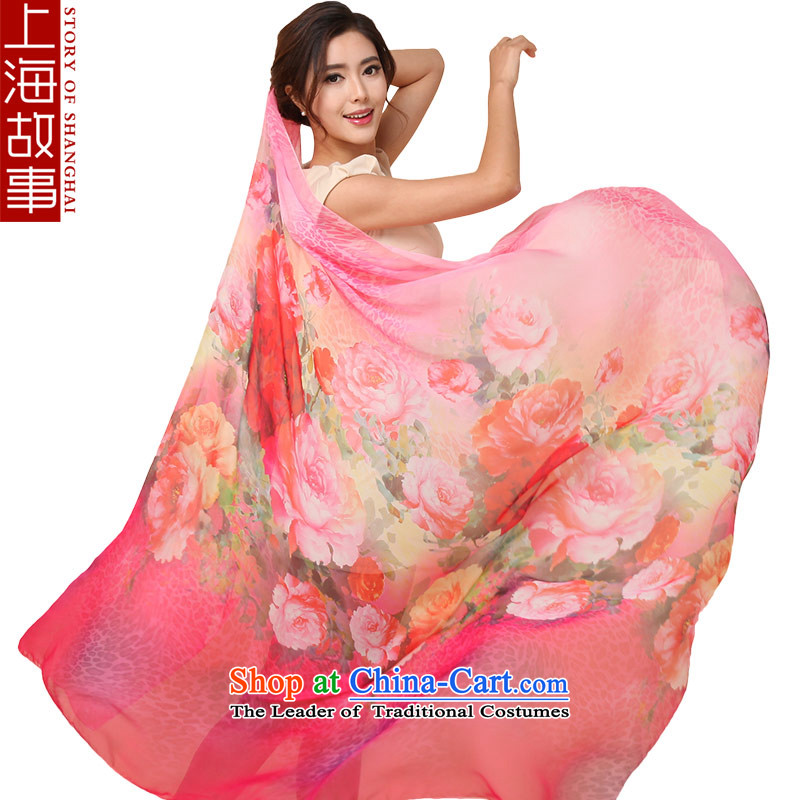 Shanghai Story Ms. silk scarf scarves women China wind sunscreen shawl masks in light of Chinese painting  AEROS red