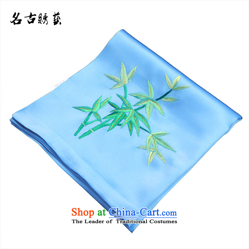 Name the tapestry arts manually Embroidered handkerchief bamboo suzhou embroidery finished embroidery silk silk abroad Suzhou light blue gift
