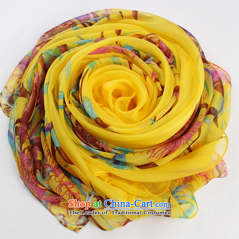 The Butterfly Dance medley autumn and winter of the Jurchen people new silk scarves sauna silk shawls long silk scarf scarf ruyi grass yellow