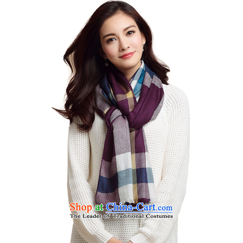 Three beautiful classic scarves (New Trend Plaid Pure Wool scarf latticed Fancy Scarf female Blue purple.