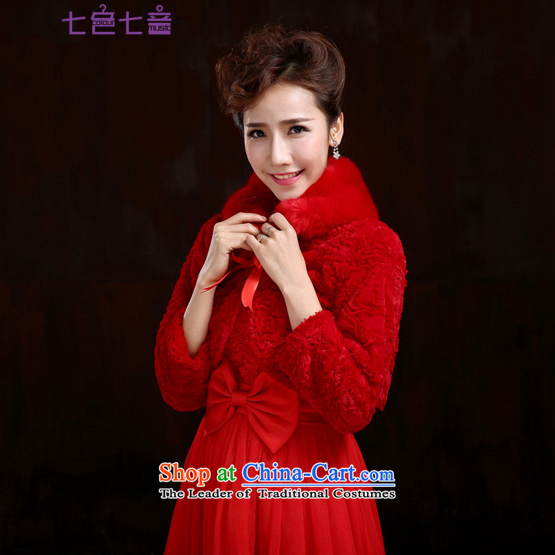 7 Color 7 tone won 2015 winter new edition wedding dresses marriage bride shawls gross thick long-sleeved jacket small cloak bridesmaid shawl聽PJ012聽red