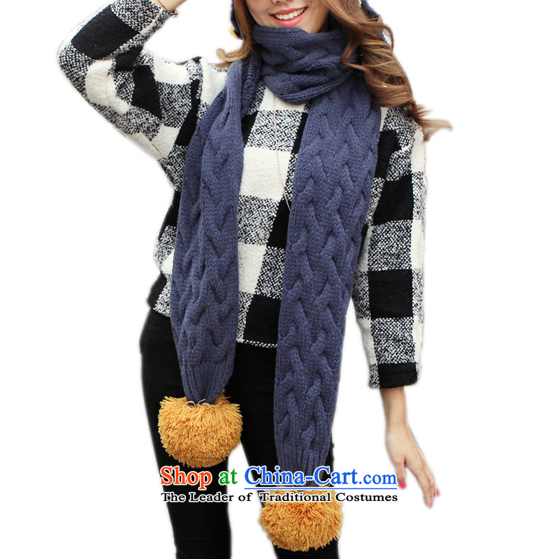 Ms. new psstyle2014 warm winter won the Korean version of the scarf plus long over-Nagymaros ball Huang Li Niao scarf map color
