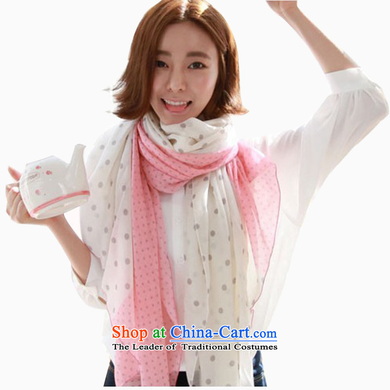 Heart hailanghua spell color dots in the Korean version of the spring and fall cotton linen scarves with an extra-long, two female Korean wild arts Hau Mansion shawl wholesale Fall WinterB162 Pink