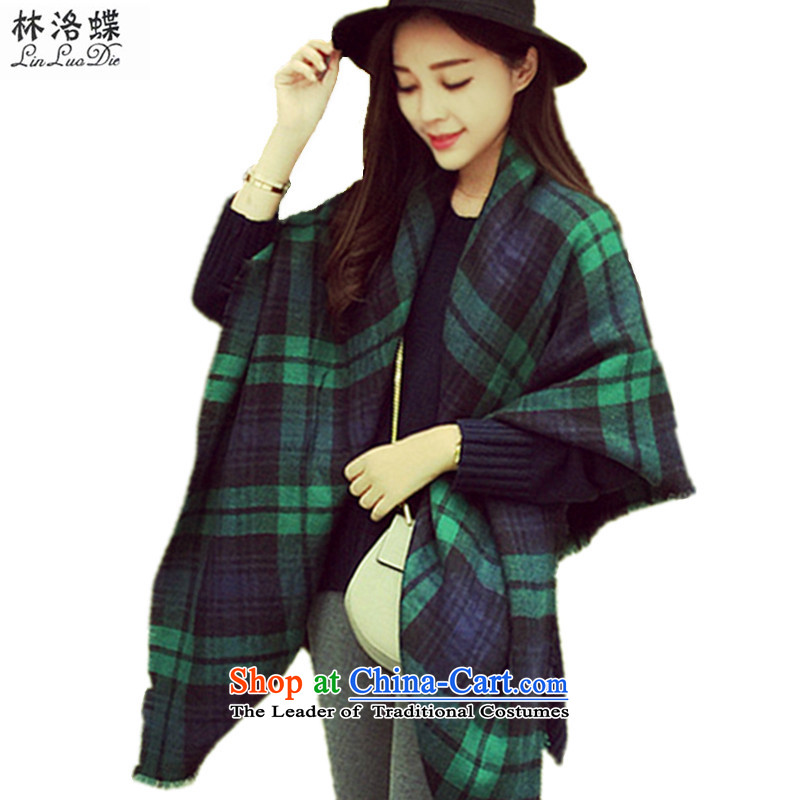 Lam Wing of the Korean chidori grid scarf female extension autumn Ms. Winter rough edges greater duplex latticed emulation /pashmina shawl, widen the double-sided scarf shawl intensify green chidori grid shall)