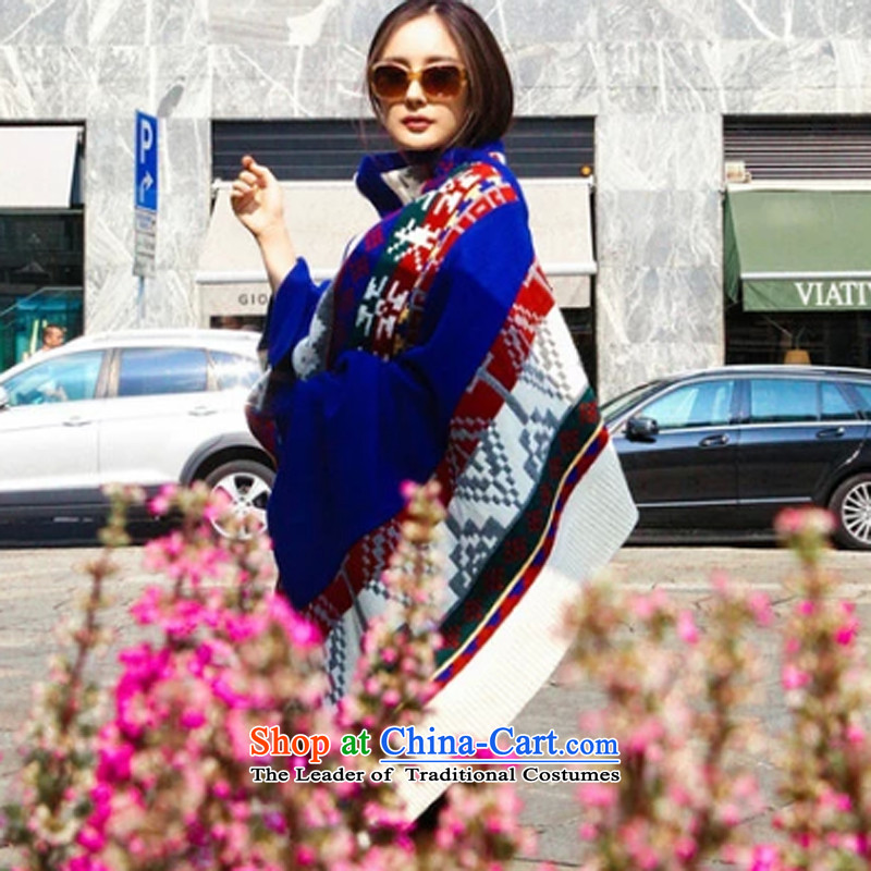 8D-Western wind power of autumn winter Yang Milan Fashion Week with the largest ethnic wild stylish shawl scarf Yang power of ethnic blue silk, will pull-down (ALL YOU NEED IS LOVE) , , , shopping on the Internet