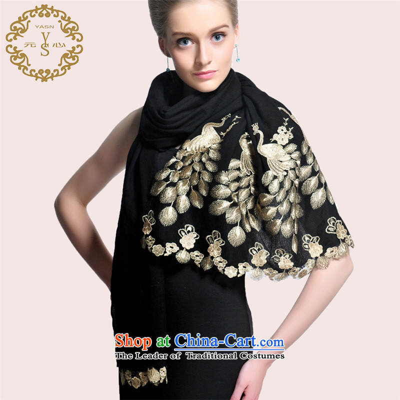 Woolen shawl gold peacock lace scarf fashionable upper long silk scarf autumn and winter warm characteristics gift accessories black