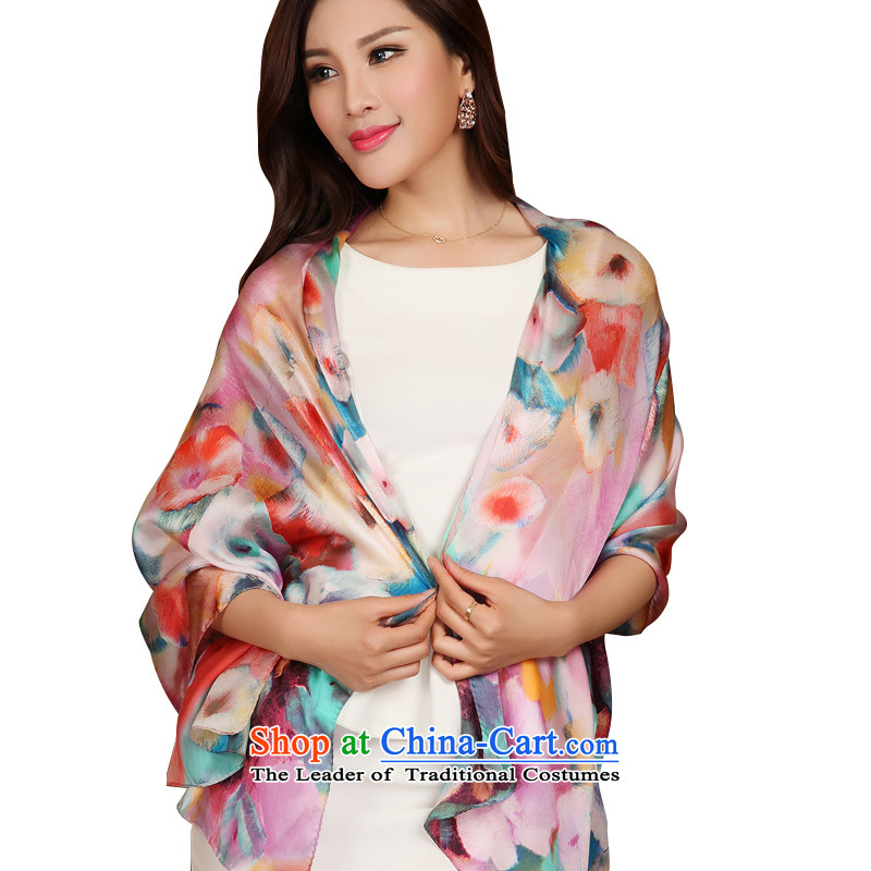 The Butterfly Dance medley spring and autumn new herbs extract silk scarf female long shawl silk scarves scarf Unmelted Deep Love pink flowers