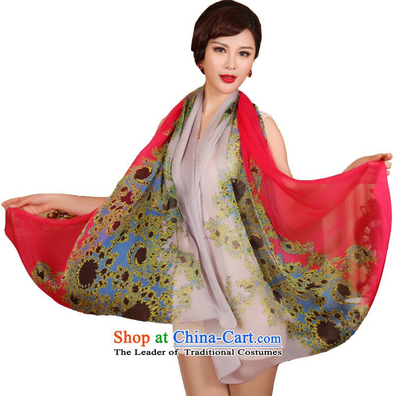 The Butterfly Dance medley spring and autumn new silk scarves long Ms. herbs extract silk scarf shawl ruyi Spring breeze in red and gray colors