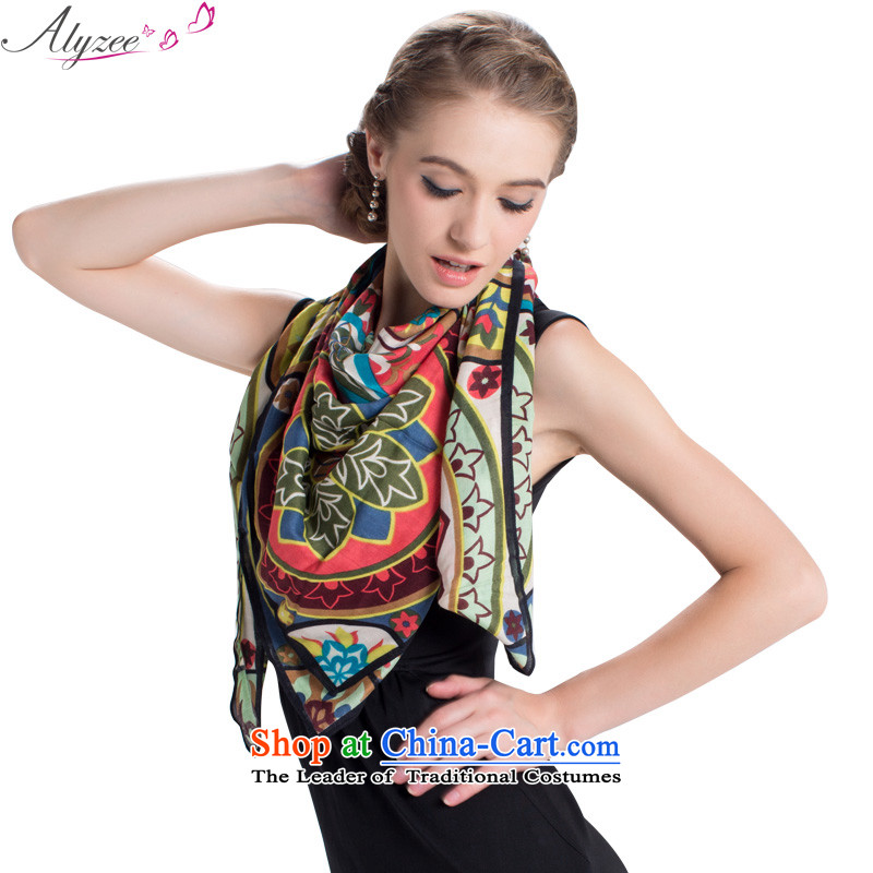 The Alice in winter alyzee ethnic flower stamp scarves, warm handkerchief also aubergine