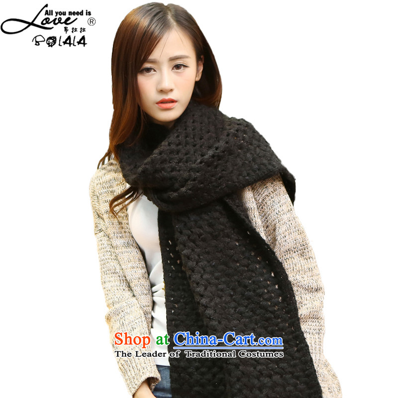8LA 2015 winter new engraving grid scarf monochrome stitching warm Knitting scarves knitted female edging scarf black engraving scarves are code