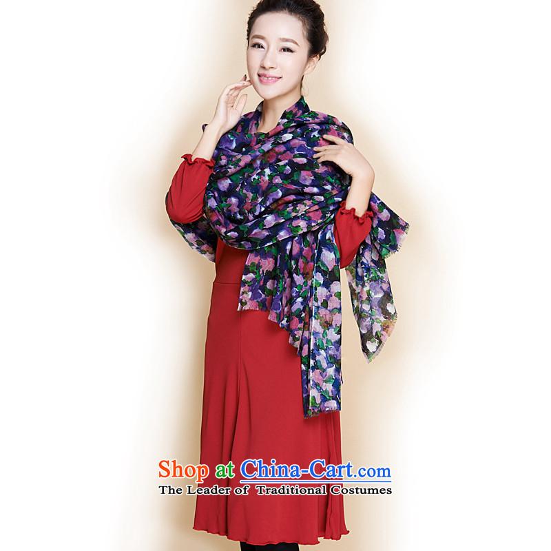 The trend of art colorful stamp Australian wool long scarf聽Yasf-y-117 Amethyst violet