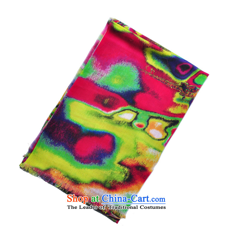 The trend of art wind colorful stamp Australian wool long scarf聽Yasf-y-116 Hyun color