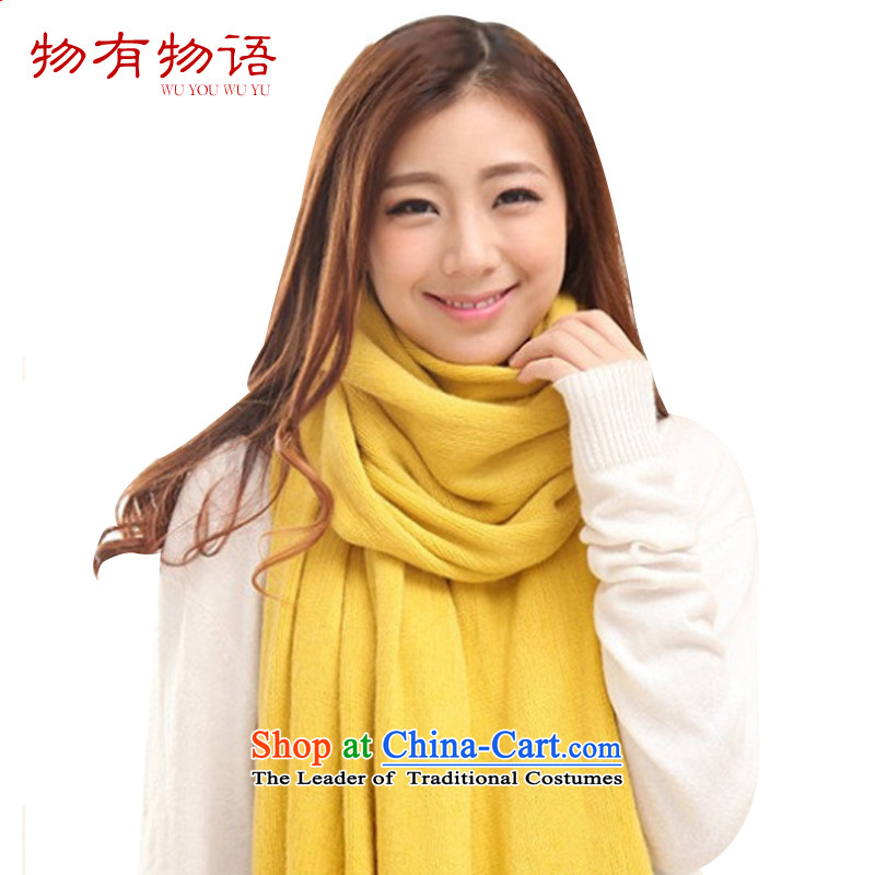 With a solid color Monogatari Knitting scarves female Korean Woman's cashmere sweater winter Fancy Scarf4313a thick turmeric yellow