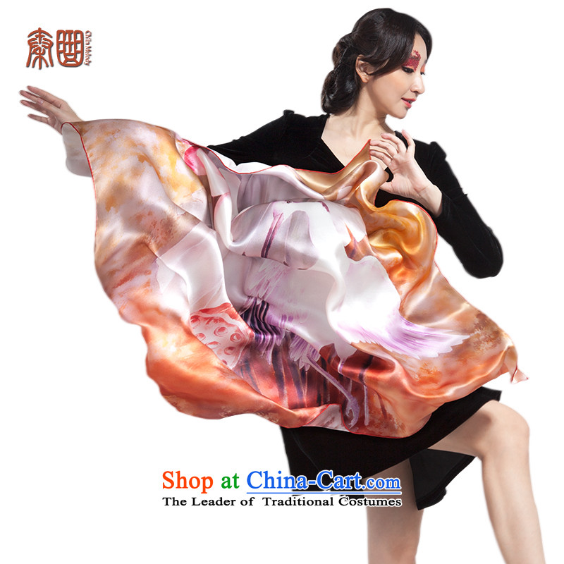 The qin song silk scarf Girl Exclusive silk scarfs and classy silk scarf shawl towel China wind ink painting art herbs extract autumn and winter long towel advanced image - poised gift hak towel