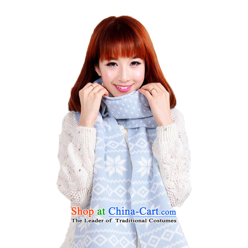 Lin, butterfly autumn and winter warm female shawl Sorok snowflake long scarves knitted scarf wool double-sided thick blue scarf girls a Shanshan Sorok scarf