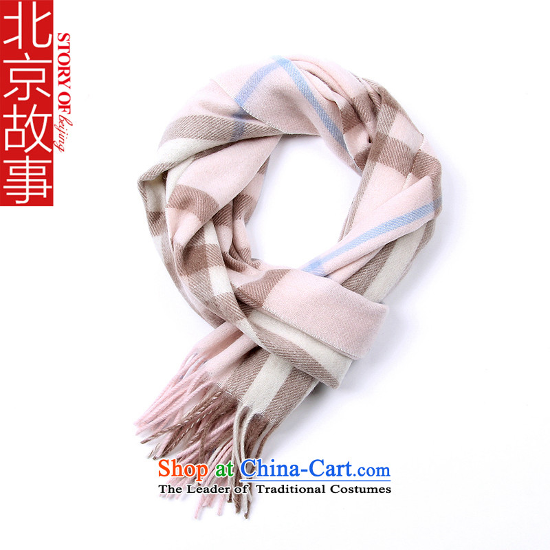 Beijing New woolen scarves story female Classic Grid mixed lint-free warm /pashmina shawl thick warm a couple of 177070 Pink
