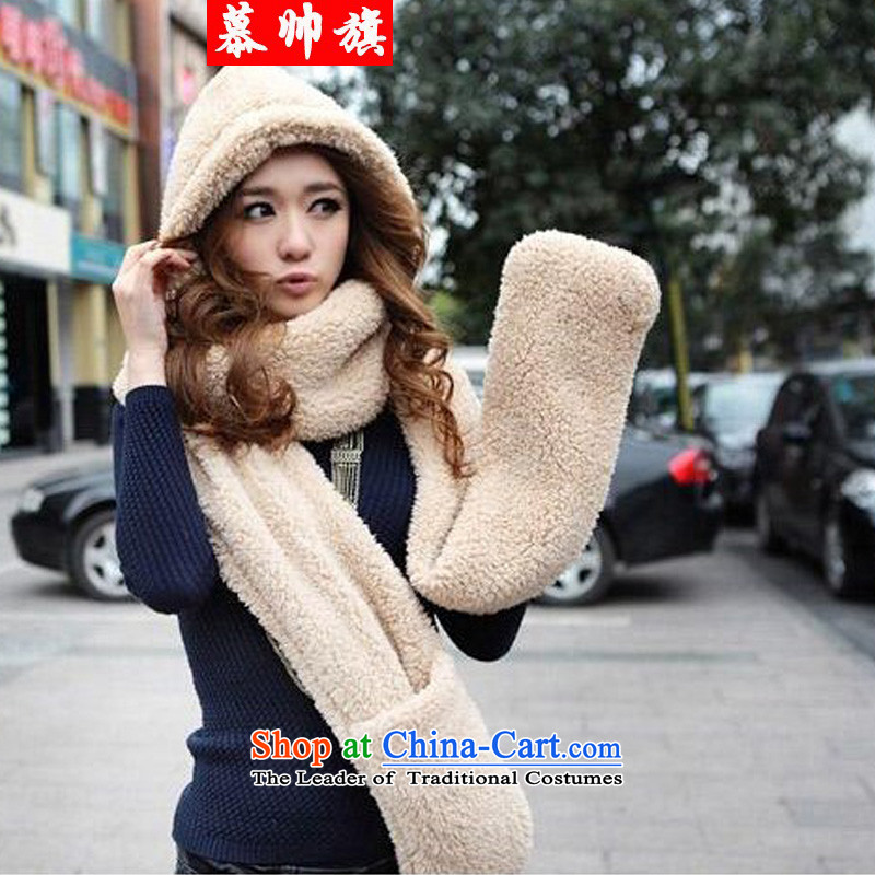The Korean version of 2015W8032 autumn and winter, a lovely thick wool hats scarves double gloves all-in-One Universal Image Color