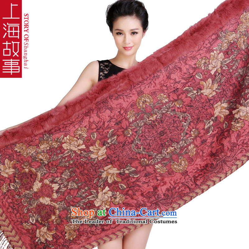 Shanghai Story, rabbit hair Washable Wool scarf thick shawl use two large 2015 autumn and winter new process and lady red